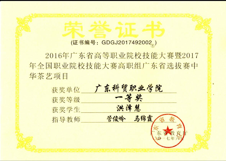 2016年广东省中华茶艺大赛一等奖--洪泽慧